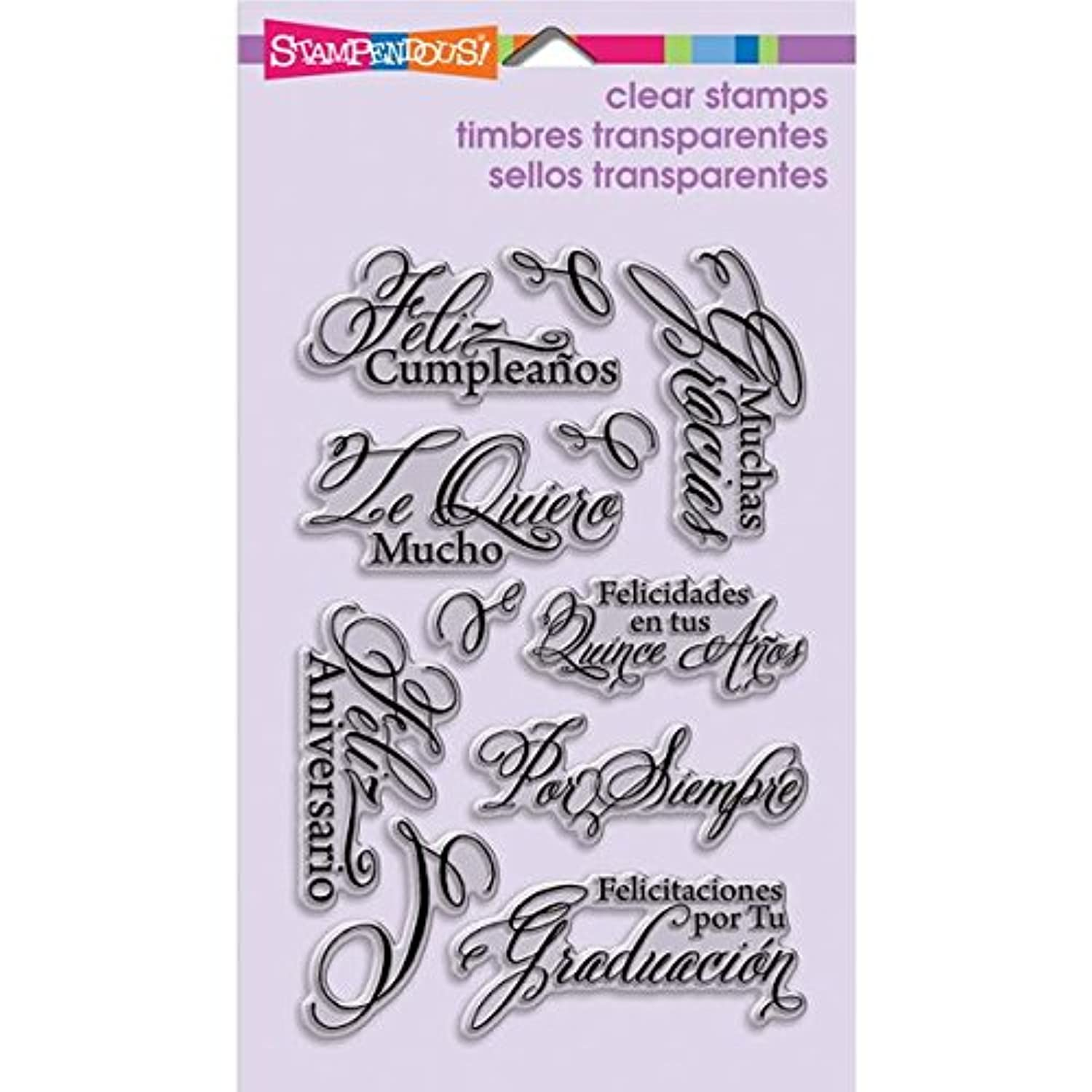 STAMPENDOUS Perfectly Clear Stamp Sets, Spanish Greetings Images iiliqa3747993
