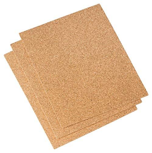 Almohadillas de corcho (3 unidades, 250 x 200 mm, 3 mm de grosor, para modelismo, como mini tablón de anuncios, para cortar y manualidades, amortigua los golpes y vibraciones, no es autoadhesivo)