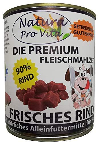 Hundefutter, Frisches Rind, 90% Rindanteil, glutenfrei + getreidefrei, Single Protein Hundenassfutter, deutsche Spitzenqualität, Alleinfuttermittel, Premium Fleischmahlzeit für den Hund 18x 800g Dose