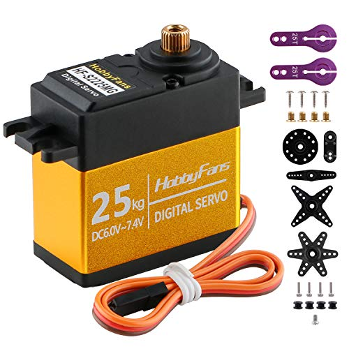 Servo Digital 25kg Engranaje de Metal Completo Alto par a Prueba de Agua con Brazo de servo 25T para ángulo de Control de Robot de Coche RC 180