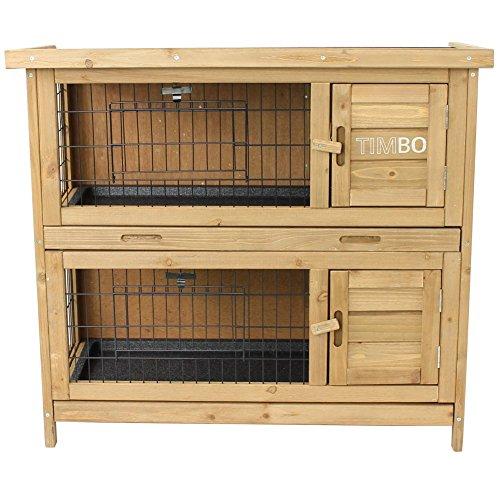 Kaninchenstall / Hasenstall EMMA auf 2 Etagen – 92x45x81 cm – Kleintier-Stall für Draußen. Der wetterfeste, doppelstöckige Stall für 2 Kaninchen – Timbo Hasenkäfig und Hasenstall - 2