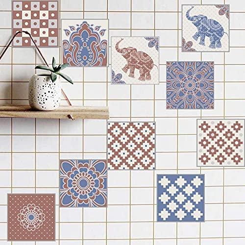 aipipl Pegatinas de Transferencia de Azulejos Baño Cocina Pegar en la Pared Azulejo Despegar y Pegar Retro de Moda - Azul Rojo Diseños Marroquí Retro Estilo Tradicional Envejecido Estilo de Mosaico