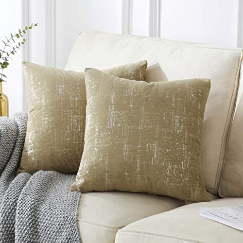 OMMATO - Fundas de cojín de terciopelo de 45 x 45 cm, cuadradas, plateadas, doradas, decorativas para sofá, dormitorio, salón, 2 unidades