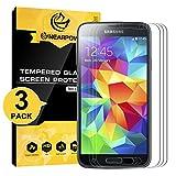 NEARPOW [3 Stück Panzerglas Bildschirmschutzfolie für Samsung Galaxy S5, Schutzfolie 9H Festigkeit, Anti-Kratzen, Anti-Öl, Anti-Bläschen, Anti-Fingerabdruck