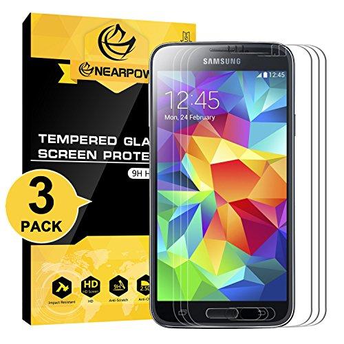 NEARPOW [3 Pack Protector de Pantalla para Samsung Galaxy S5 Cristal Vidrio Templado [9H Dureza] [Alta Definicion] [Sin Burbu]