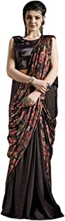 Black Printed Lycra Saree Sari Blouse Party Women Dress Stylish Indian Festival Suit 19