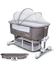 Maydolly(メイドリ) 添い寝 ベビーベッド コンパクトに折り畳み可能で 収納便利 消音昇降機能とキャスター付き 固定ベルト付き かやつき マットつき 収納かごつき 新生児0ヶ月 ~ 24ヶ月