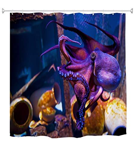 A.Monamour Duschvorhang Lila Oktopus Im Blue Planet National Aquarium In Kopenhagen Dänemark Unterwasser-Szene Wasserdichtes Gewebe Bad Vorhang Polyester Duschvorhang Mit Haken Ringe 180x200cm