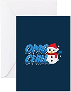 CafePress Emoji OMG Chill Snowman Greeting Card (10-pack), Note Card with Blank Inside, Birthday Card Matte