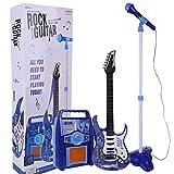 HYMAN Guitarra para niños, Guitarra Eléctrica Instrumento Musical de Juguete Reproductor MP3 Amplificador de micrófono Juego de Juego