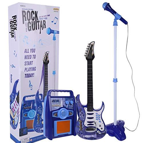 Matuke Kindergitarre, 3 In 1 Gitarre Kinder E-Gitarre Set mit Mikrofon und Verstärker Spielzeug Kinder-Gitarre Musikinstrument Geschenk für ab 3 Jahre - Blau