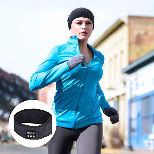 WIOR Sleep Headphones Bluetooth Headband Wireless Sports Headband Hands-Free Music, Bedphones Sleep Noise Cancelling Headphones with Mic Built-in Speakers for Workout Running Jogging Yoga Insomnia