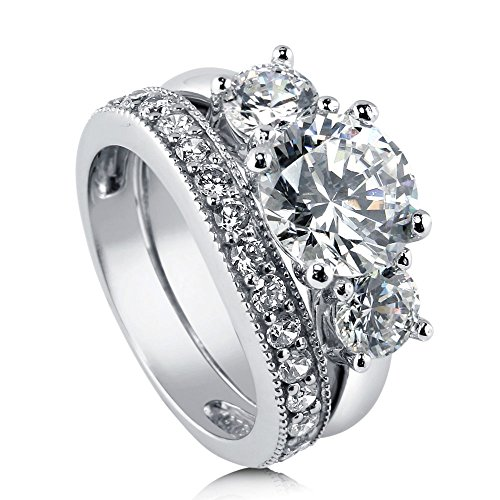 BERRICLE Rhodium Plated Sterling Silver Round Cubic Zirconia CZ 3-Stone Anniversary Engagement Wedding Ring Set 3.6 CTW Size 5.5