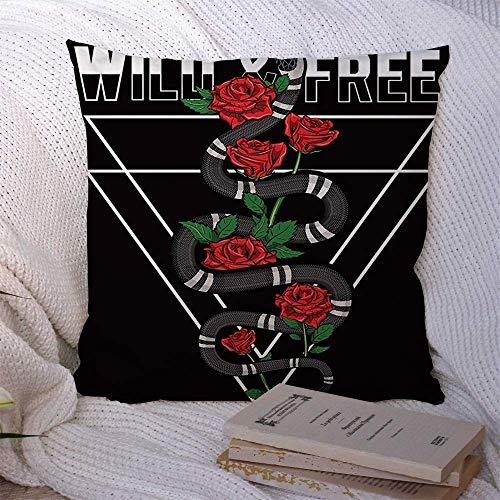 Funda de almohada decorativa con estampado de serpiente de calavera de poliéster Gráfico Viper negro Rosas de moda Floral Salvaje Colorido Lema gratis Dibujo Funda de cojín de naturaleza dibujada para