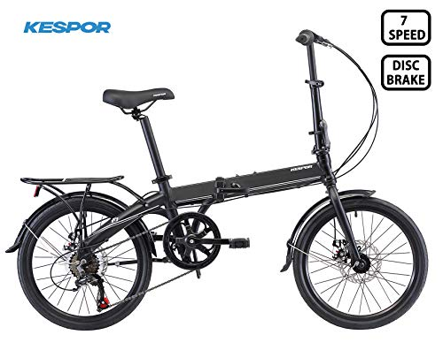 KESPOR K7 Folding Bike 20' Alloy 7 Speed Disc Brake with Rear Rack (Black)