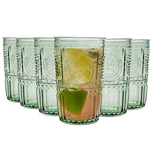 Bormioli Rocco Romantique Highball Verres Set - Cocktail Vintage Verre Cut Italien Gobelets - 475ml - Vert - Lot de 6