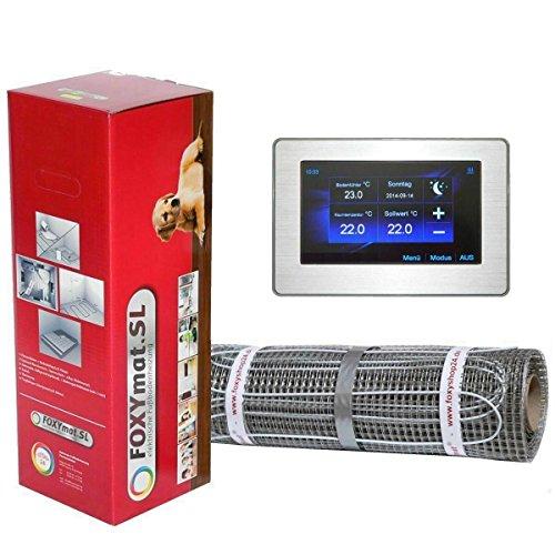FOXYSHOP24-elektrische Fußbodenheizung PREMIUM MARKE FOXYMAT.SL (160 Watt pro m²) mit Thermostat FOXYREG CTFT,Komplett-Set 2.0 m² (0.5m x 4m)