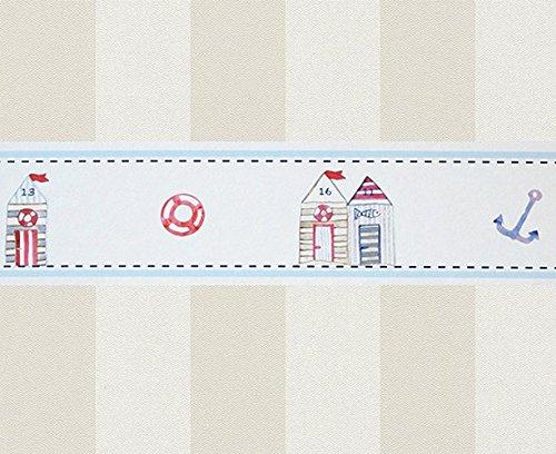 Hansekind Bordüre Kids Strandhaus, maritime Motive, TAP1301, Vlies, sand/weiß