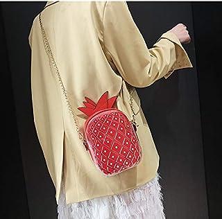 Adebie - Cute Pineapple Female 2019 Summer New Mini Chain Messenger Bag Jelly Clear Designer Shoulder Bag Women Transparent Crossbody Bag Red []