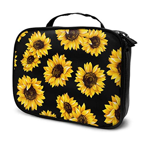 LOKIDVE Sunflowers Makeup Bag For Girls Women Girlfriends Travel Cosmetic Case Organizer Box Portable Beauty Toiletry Brush Tote Bags Gifts