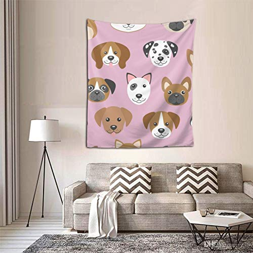 Dog Muzzles On Pink Wall Hanging Tapestries Black & White Wall Blanket Wall Art for Living Room Bedroom Home Decor