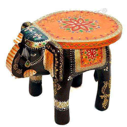 Mesa decorativa con forma de elefante, hecha a mano, color negro
