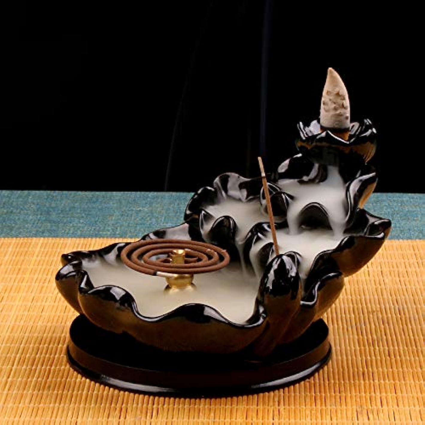 借りている可動式織機(Style4) - Backflow Incense Burner Buddha monk and Moon Ceramic Censer for Home Decor Tea ceremony (Style4)