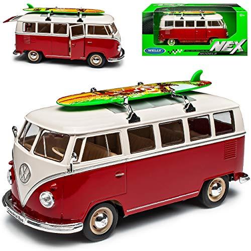 Welly Volkwagen T1 Rot Weiss mit Surfbrett Samba Bully Bus 1950-1967 1/24 Modell Auto mit individiuellem Wunschkennzeichen