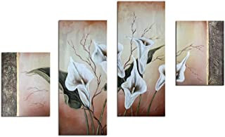 Noah Art-Contemporary Oil Paintings of Flowers, White Lilies Flower Pictures 100% Hand Painted Framed Flower Paintings on Canvas, 4 Panel Gallery Wrapped Canvas Floral Wall Art for Bedroom Home Decor
