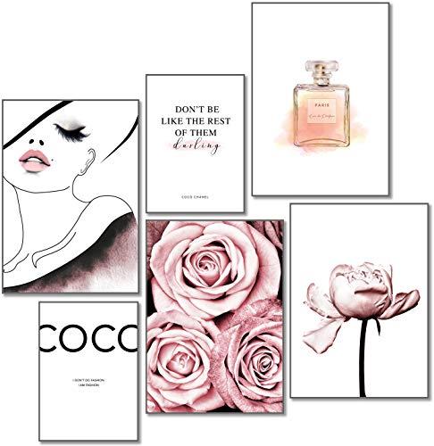artpin® - Juego de pósteres de diseño – Cuadros decorativos para pared de salón – Moderno dormitorio – 4 x DIN A3 & 2 x DIN A4 – aprox. 30 x 42 & 21 x 30 – Coco Rose W4