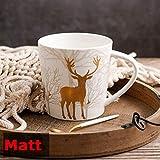 Creative Cup Europe Style Milu Deer Cups Taza de gran capacidad 650 ml con tapa y cuchara Tazas de cerámica Taza de café Taza de té con leche Regalos de Navidad, taza mate