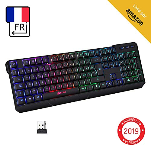 KLIM™ Chroma Clavier sans Fil Gamer AZERTY FRANÇAIS + Fin, Durable, Ergonomique, Discret, Waterproof, Silencieux + Clavier Gamer rétroéclairé pour PC Mac + Clavier PS4 + Nouvelle Version 2019 + Noir