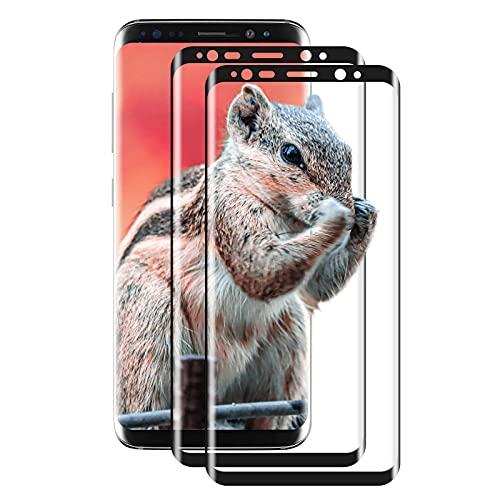 [2 Unidades] Protector de Pantalla de Cristal Templado para Samsung Galaxy S8 Plus/S8+, Cobertura Completa 3D, AntiarañAzos, Dureza 9H, Compatible con Samsung S8 Plus (Negro)