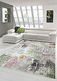Diseñador y moderna alfombra de pelo corto sala de estar alfombras púrpura beige verde azul Größe 80 x 300 cm