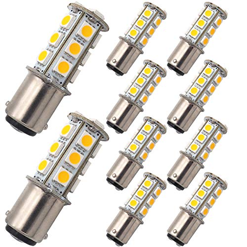 GRV Ba15d 1142 Ampoules de voiture à LED grande puissance 18 SMD 5050 12 V à 24 V CA/CC blanc chaud - lot de 10