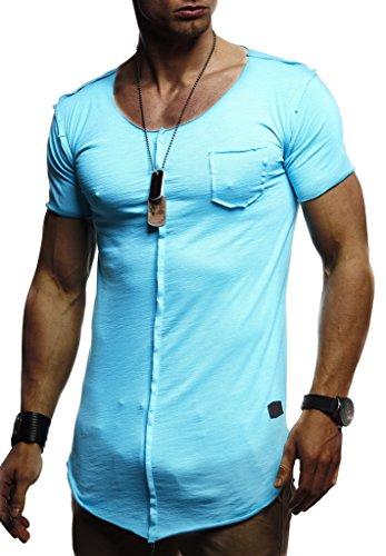 Leif Nelson Herren Sommer T-Shirt Rundhals-Ausschnitt Slim Fit Baumwolle-Anteil Basic Männer T-Shirt Crew Neck Hoodie-Sweatshirt Kurzarm lang LN6288 Tuerkis Medium