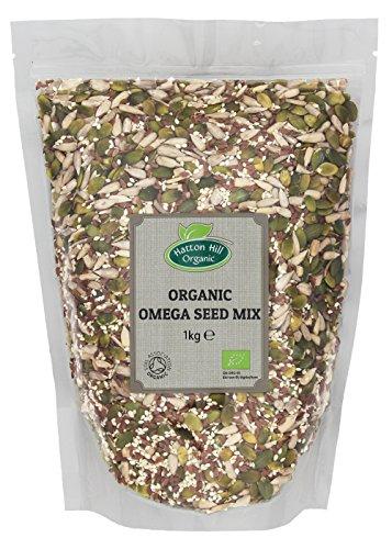 Mezcla orgánica de semillas Omega de 1 kg por Hatton Hill Organic.(semillas de girasol, semillas de calabaza, semillas de sésamo, semillas de lino marrón)