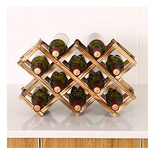 Estante de vino de madera maciza, madera de pino, estante de vino, estante de vino de madera plegable, decoraciones, color múltiple, color de madera natural (Color : A)
