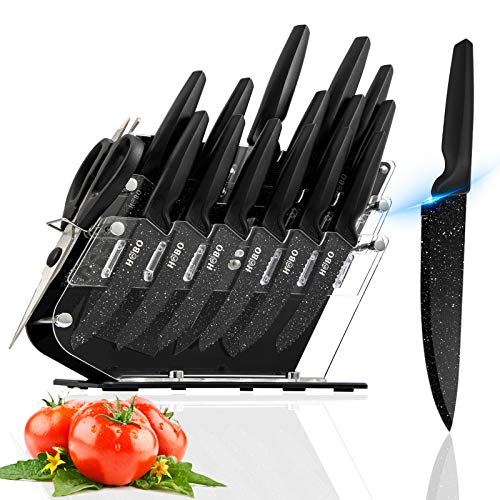 Knife Set, HOBO 17 Pieces Kitchen Knife Set Clear, German Stainless Steel Sharp Knife Set with Acrylic Block, Black Chef Knife Set with 6 Serrated Steak Knives and Kitchen Scissor