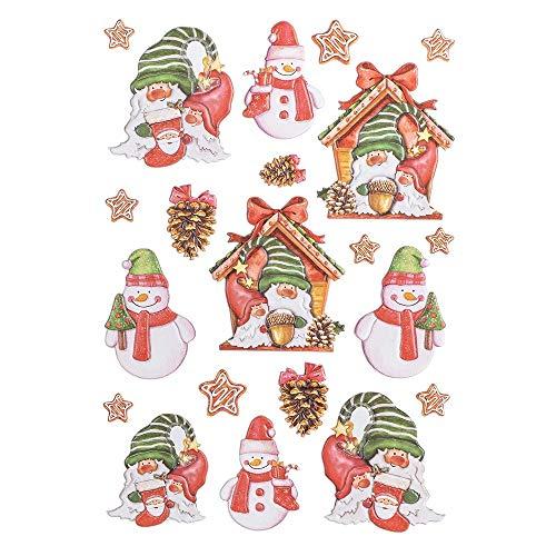 Ideen mit Herz Stickerbogen 3-D Relief-Sticker | Aufkleber | Hochwertig geprägt mit 3-D-Effekt | Din A4 Bogen mit verschiedenen Motiven (Weihnachtliche Wichtel 05)