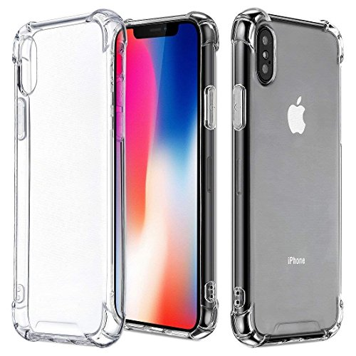 TekSonic Case for iPhone Xs and iPhone X, Crystal Clear Case with [TPU Bumper Cushion] Soft Gel Full Cover Protector for Apple iPhone-Xs 2018 and iPhone-X Case 2017