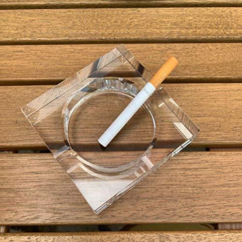 FSHB Ménage Bureau Cristal Verre Cendrier Plateau Noir/Or/Transparent Carré Cendrier Cendrier Cigare Accessoire pour Fumer, Transparent 10 cm