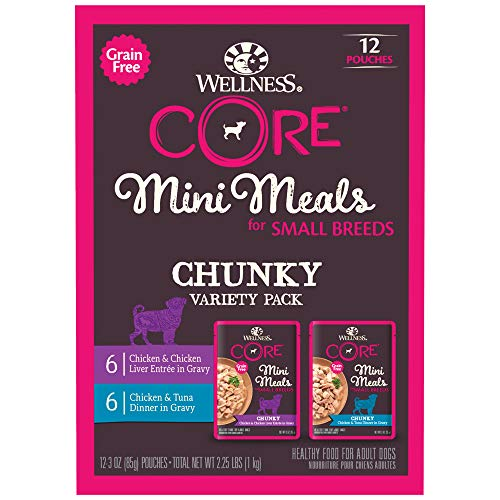 Wellness Core Grain Free Small Breed Mini Meals Chunky Variety Pack, 3 oz (Pack of 12)