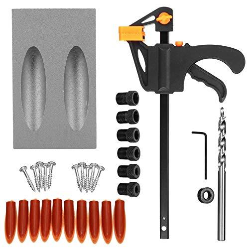 Shenyitool 15 Grad-Winkel zum Holz Oblique Loch Locator Bohrer Sackloch Jig Kit Bohrführung Set Locher DIY Tischlerwerkzeuges Werkzeug (Color : 7pcs grey)