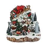 25 twentyfive Pueblo navideño Animado con teleférico, Trineo de Papá Noel, música y Luces - 30 x 29 x 26,5 cm