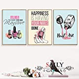 Cartoon Nail Polish Quotes Wall Art Canvas Painting Nordic Posters and Prints Pop Art Salon Wall Pictures for Girl Bedroom Decor-40x50cm X3P No Frame