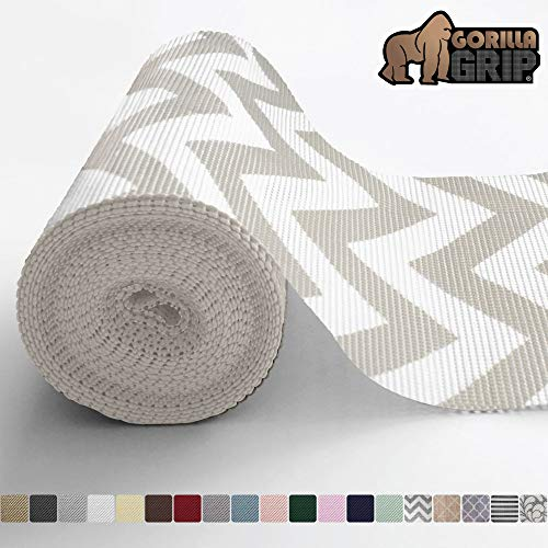 Gorilla Grip Original Drawer and Shelf Liner, Non Adhesive Roll, 12 Inch x 20 FT, Durable and Strong, for Drawers, Shelves, Cabinets, Storage, Kitchen and Desks, Chevron Gray White