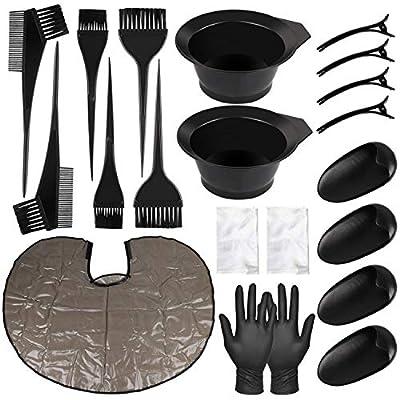 21 Pieces Hair Dye Coloring Kit, Hair Tinting Bowl, Dye Brush, Ear Cover, Hair Clips, Hair Coloring Cape, Gloves for DIY Salon Hair Coloring Bleaching Hair Dryers Hair Dye Tools