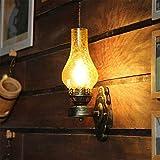 Lámpara industrial, American retro loft wall sconence candelabro iluminación industrial hierro e27 pared de pared con lámpara de pared de cristal agrietado Acaso de bronce pulido para pasillo Sala de