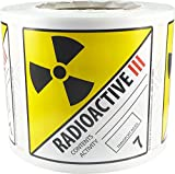 Hazard Class 7 D.O.T. Radioactive III Labels 4x4 Inch Square 500 Adhesive Labels...
